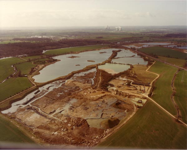 Aerial view looking south, of the eastern lakes and workings in winter c1982.