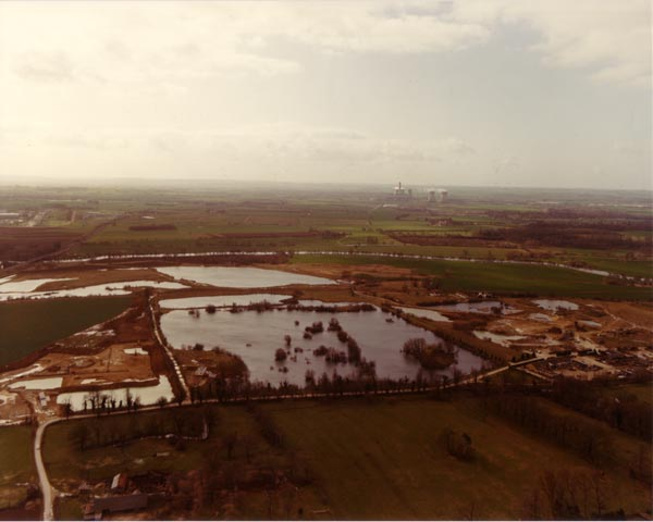 Aerial view looking south, of the western lakes and workings in winter c1982.