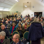 The scene inside Radley Village Hall on 21 March 2014 at a public meeting to protest about new housing plans. Photograph by B Crowley.