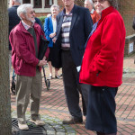 Radley Parish Councillor, eric Davies, Graham Steinsberg and the vicar the Rev Pam McKellen outside Abbey House on 4th April 2014