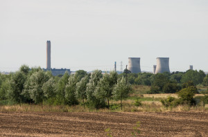 Didcot 'A' Power Station as seen from Radley on the morning of 27th July after the demolition of the three easternmost cooling towers. Photograph by B Crowley.