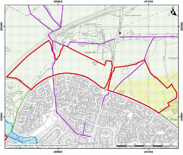 Map showing the extended North Abingdon Site as incorporated in the revised Draft Local Plan (September 2014).