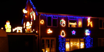 Christmas illuminations, Spinneys Close, December 2014. Photograph by B Crowley