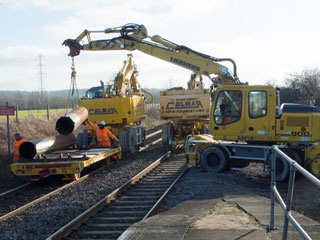Electrification works underway at Radley Railway Station, 18 January 2015. Photograph by B Crowley.