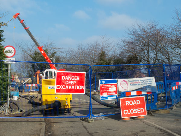 Excavations in Church Road, 09 February 2015. Photograph by B Crowley.