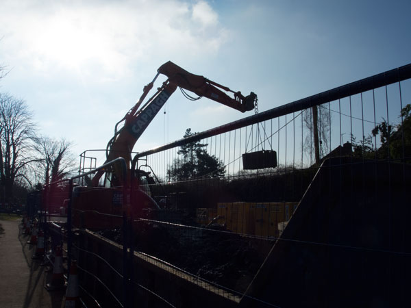 Excavations in Church Road underway on 09 February 2015. Photograph by B Crowley